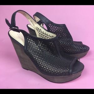 Coach jaklyn laser cut design wedge heel sandal